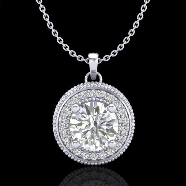 1.25 ctw VS/SI Diamond Solitaire Art Deco Stud Necklace 18k White Gold - REF-218K2Y