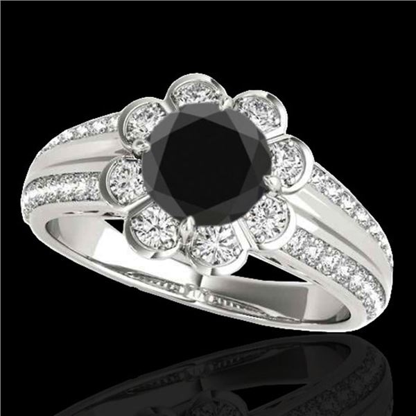 2.05 ctw Certified VS Black Diamond Solitaire Halo Ring 10k White Gold - REF-68X2A