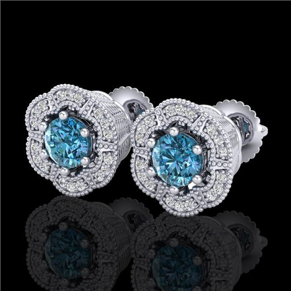 1.51 ctw Fancy Intense Blue Diamond Art Deco Earrings 18k White Gold - REF-178Y2X