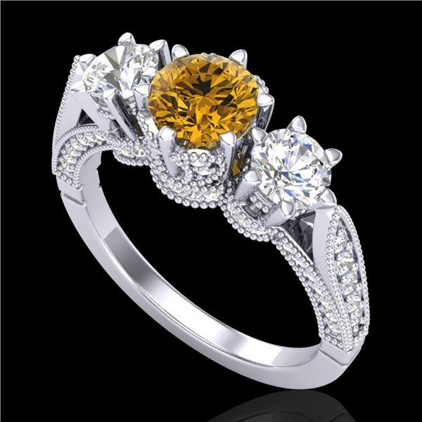 2.18 ctw Intense Fancy Yellow Diamond Art Deco Ring 18k White Gold - REF-272K8Y