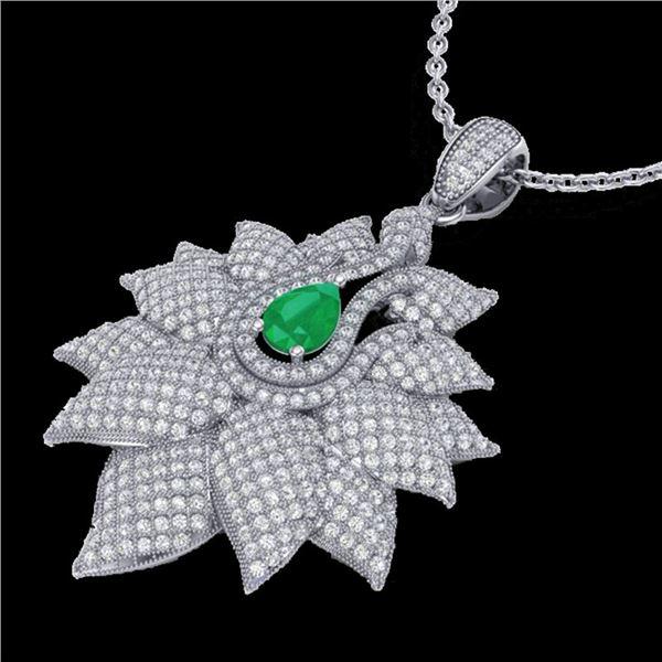 3 ctw Emerald & Micro VS/SI Diamond Designer Necklace 18k White Gold - REF-290R9K