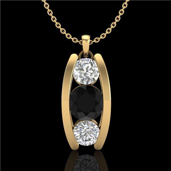 1.07 ctw Fancy Black Diamond Art Deco Stud Necklace 18k Yellow Gold - REF-101W8H