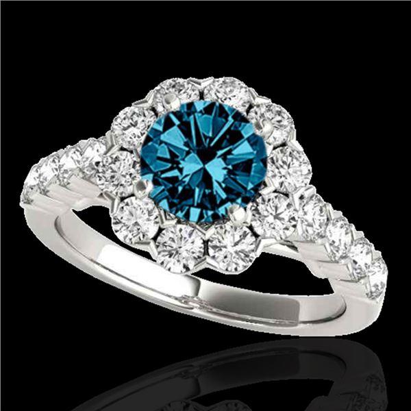 2.35 ctw SI Certified Fancy Blue Diamond Halo Ring 10k White Gold - REF-184H3R