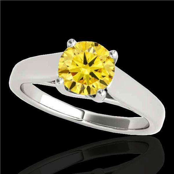 1 ctw Certified SI/I Fancy Intense Yellow Diamond Ring 10k White Gold - REF-182H8R