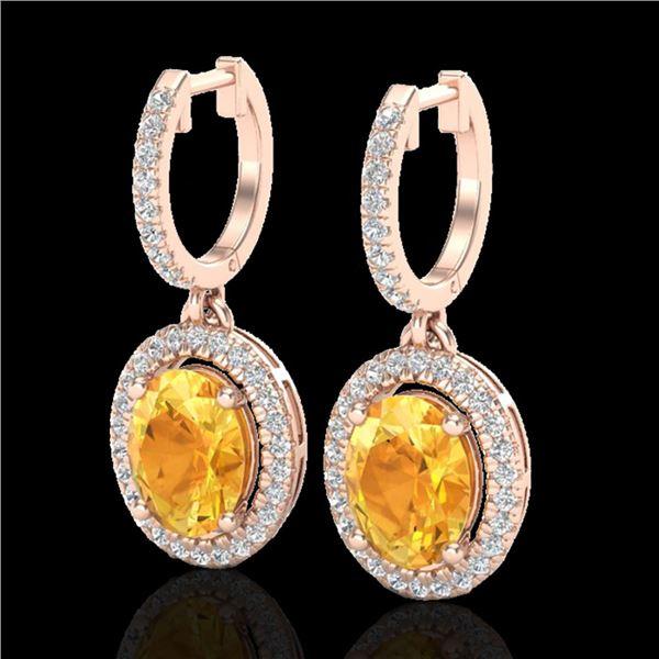 3.50 ctw Citrine & Micro Pave VS/SI Diamond Earrings 14k Rose Gold - REF-83N6F