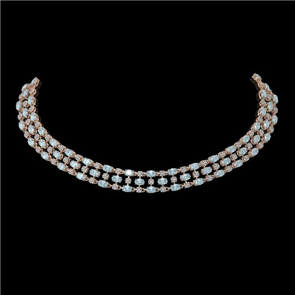 31.85 ctw Aquamarine & Diamond Necklace 10K Rose Gold - REF-527K3Y