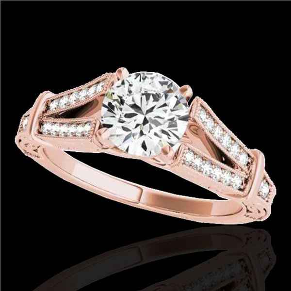 1.25 ctw Certified Diamond Solitaire Antique Ring 10k Rose Gold - REF-184G3W