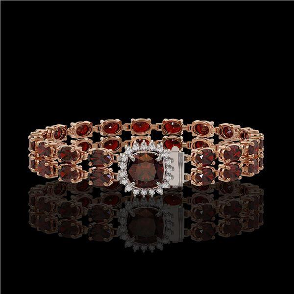 14.98 ctw Garnet & Diamond Bracelet 14K Rose Gold - REF-178G2W