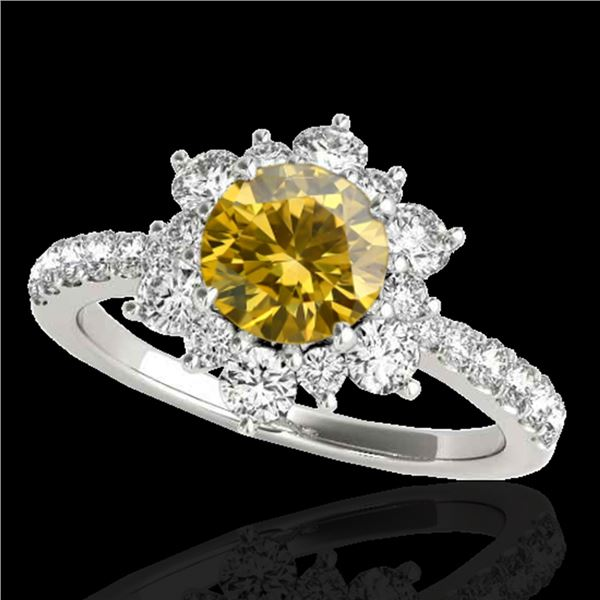 2 ctw Certified SI/I Fancy Intense Yellow Diamond Halo Ring 10k White Gold - REF-238Y6X