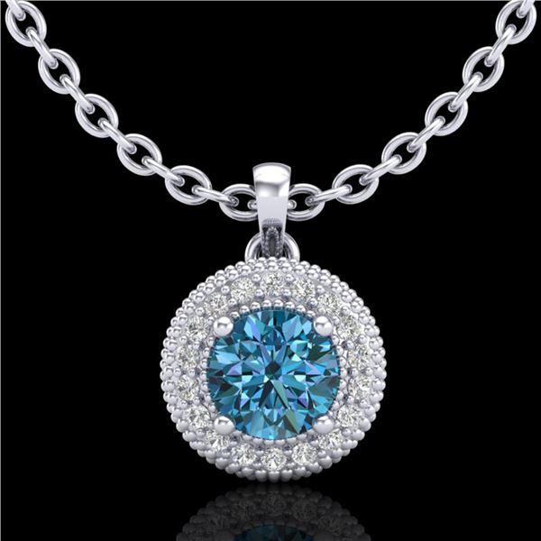 1 ctw Intense Blue Diamond Art Deco Stud Necklace 18k White Gold - REF-138X2A