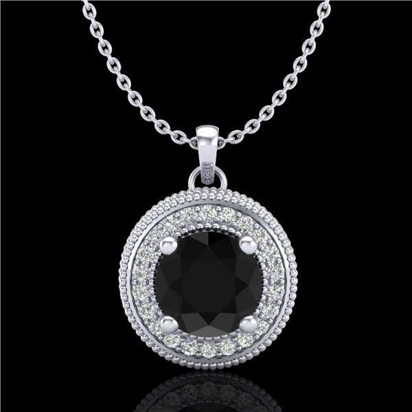 1.25 ctw Fancy Black Diamond Art Deco Stud Necklace 18k White Gold - REF-89M3G