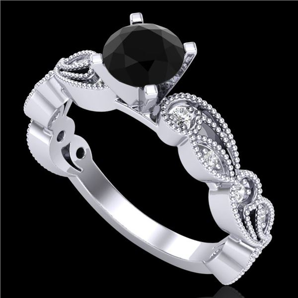 1.01 ctw Fancy Black Diamond Engagment Art Deco Ring 18k White Gold - REF-87Y3X