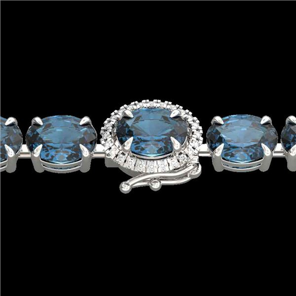 19.25 ctw London Blue Topaz & VS/SI Diamond Micro Bracelet 14k White Gold - REF-116R4K