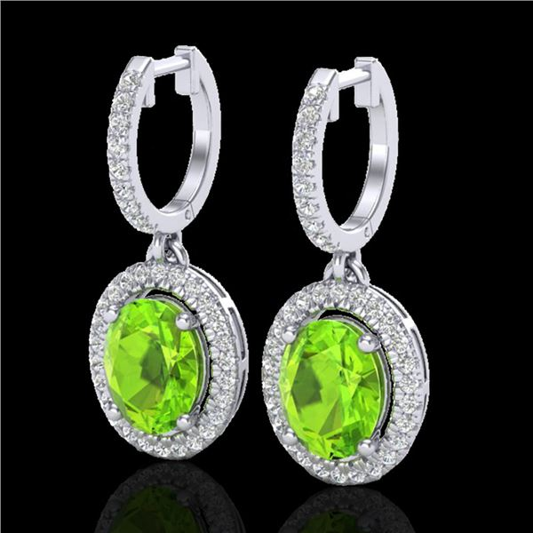 3.75 ctw Peridot & Micro Pave VS/SI Diamond Earrings 18k White Gold - REF-105R5K
