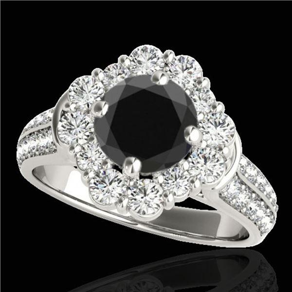 2.81 ctw Certified VS Black Diamond Solitaire Halo Ring 10k White Gold - REF-102R4K