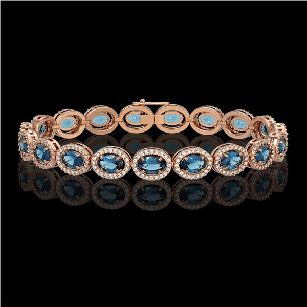 14.82 ctw London Topaz & Diamond Micro Pave Halo Bracelet 10k Rose Gold - REF-263K6Y