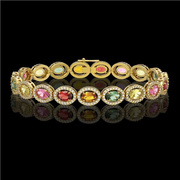 14.25 ctw Multi Color Sapphire & Diamond Micro Pave Bracelet 10k Yellow Gold - REF-304K5Y