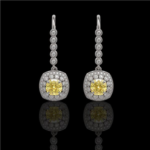 4.1 ctw Canary Citrine & Diamond Victorian Earrings 14K White Gold - REF-124X4A