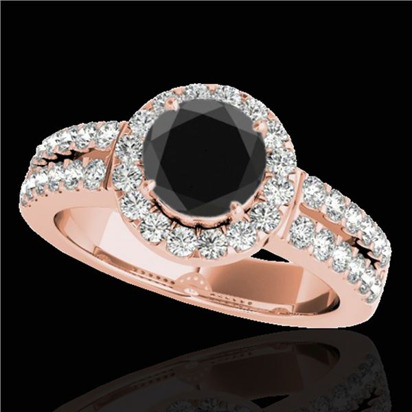 1.5 ctw Certified VS Black Diamond Solitaire Halo Ring 10k Rose Gold - REF-80A5N