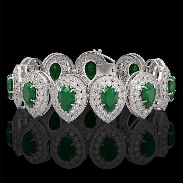 56.04 ctw Emerald & Diamond Victorian Bracelet 14K White Gold - REF-1745K5Y