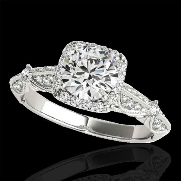 1.36 ctw Certified Diamond Solitaire Halo Ring 10k White Gold - REF-204W5H