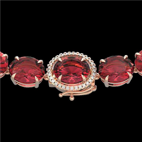 145 ctw Pink Tourmaline & VS/SI Diamond Micro Necklace 14k Rose Gold - REF-2472F8M