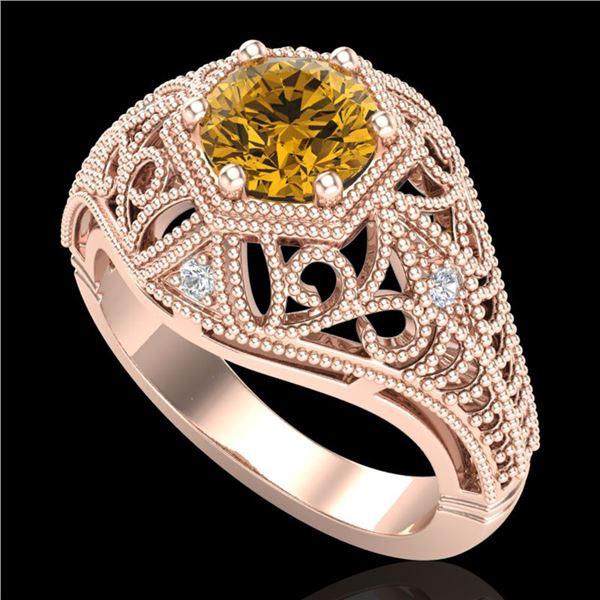 1.07 ctw Intense Fancy Yellow Diamond Art Deco Ring 18k Rose Gold - REF-254A5N
