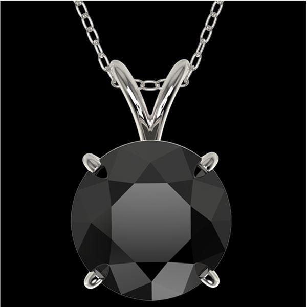 2.58 ctw Fancy Black Diamond Solitaire Necklace 10k White Gold - REF-60F3M