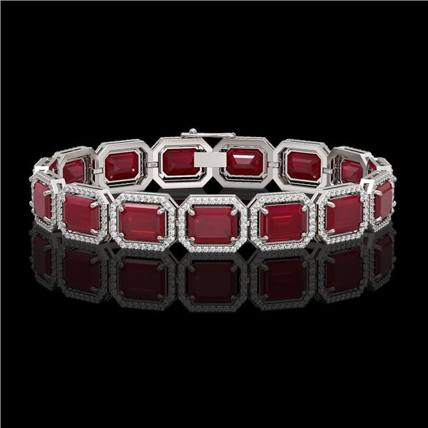 38.61 ctw Ruby & Diamond Micro Pave Halo Bracelet 10k White Gold - REF-424G5W