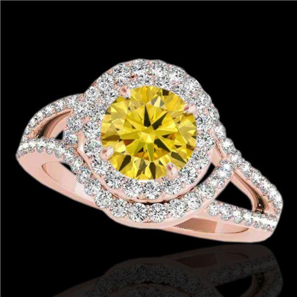 2.15 ctw Certified SI/I Fancy Intense Yellow Diamond Ring 10k Rose Gold - REF-244N3F