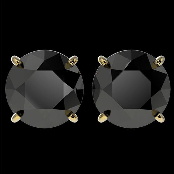 4.19 ctw Fancy Black Diamond Solitaire Stud Earrings 10k Yellow Gold - REF-68X8A