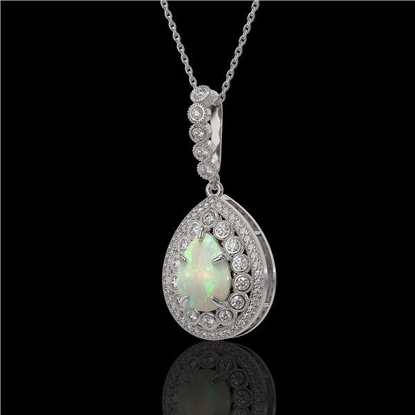 4.14 ctw Certified Opal & Diamond Victorian Necklace 14K White Gold - REF-139K3Y