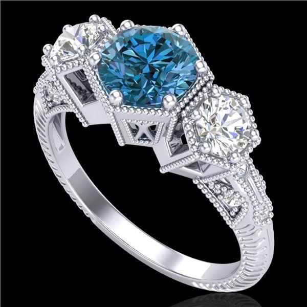 1.66 ctw Intense Blue Diamond Art Deco 3 Stone Ring 18k White Gold - REF-254F5M