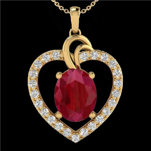4 ctw Ruby & VS/SI Diamond Designer Heart Necklace 14k Yellow Gold - REF-81W8H