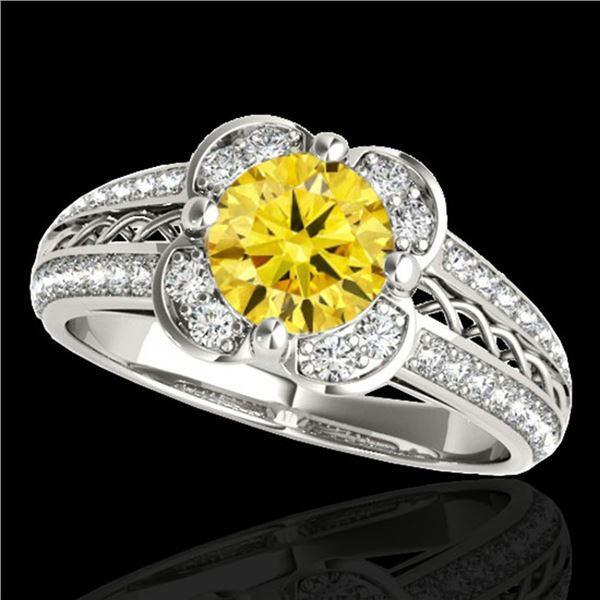 1.5 ctw Certified SI/I Fancy Intense Yellow Diamond Ring 10k White Gold - REF-190M9G