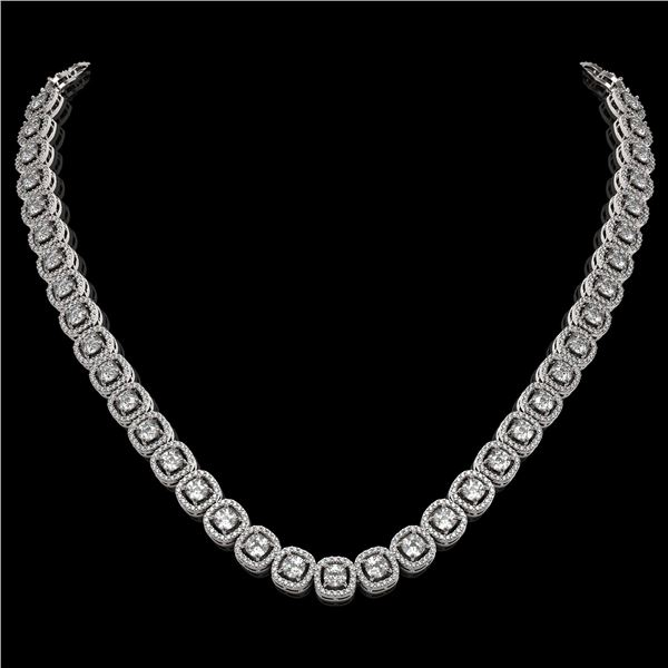 20.73 ctw Cushion Cut Diamond Micro Pave Necklace 18K White Gold - REF-1807F9M