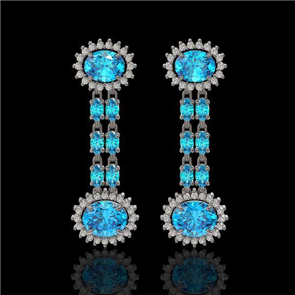 9.85 ctw Swiss Topaz & Diamond Earrings 14K White Gold - REF-145R3K