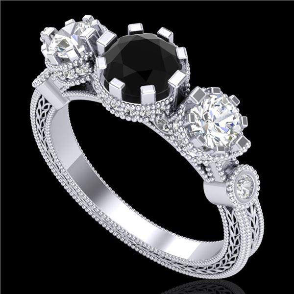 1.75 ctw Fancy Black Diamond Art Deco 3 Stone Ring 18k White Gold - REF-153W6H