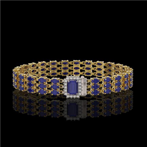 28.74 ctw Sapphire & Diamond Bracelet 14K Yellow Gold - REF-318K2Y