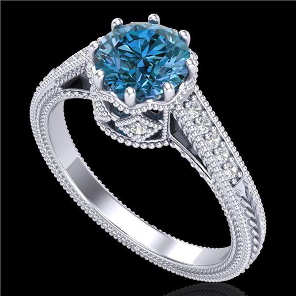 1.25 ctw Fancy Intense Blue Diamond Art Deco Ring 18k White Gold - REF-218K2Y