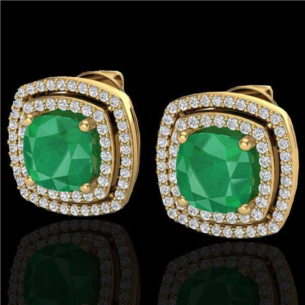 4.95 ctw Emerald & Micro Pave VS/SI Diamond Earrings 18k Yellow Gold - REF-116X4A