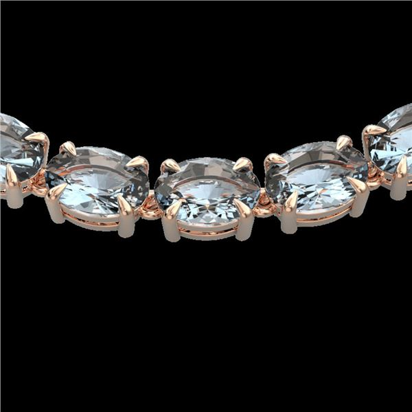 45 ctw Aquamarine Eternity Designer Necklace 14k Rose Gold - REF-418K5Y
