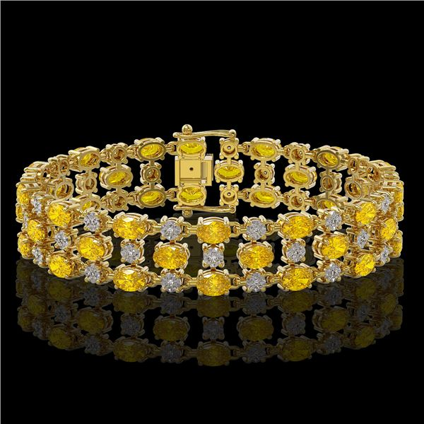 12.7 ctw Fancy Citrine & Diamond Row Bracelet 10K Yellow Gold - REF-209N3F