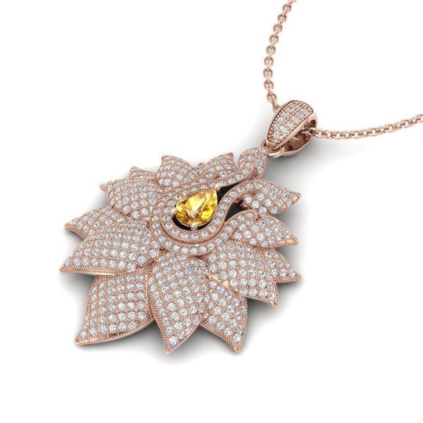 3 ctw Yellow Sapphire & Micro Pave Diamond Necklace 14k Rose Gold - REF-290H9R