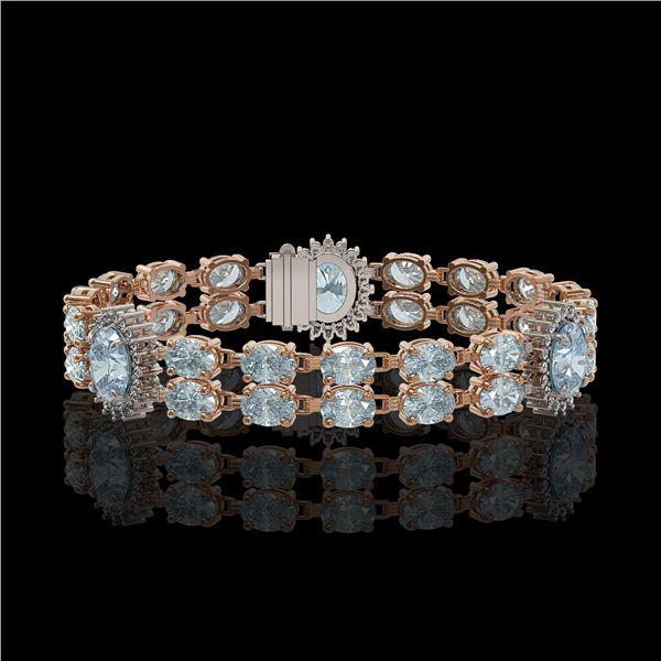 15.72 ctw Aquamarine & Diamond Bracelet 14K Rose Gold - REF-254W5H