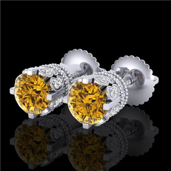 3 ctw Intense Fancy Yellow Diamond Art Deco Earrings 18k White Gold - REF-349R3K