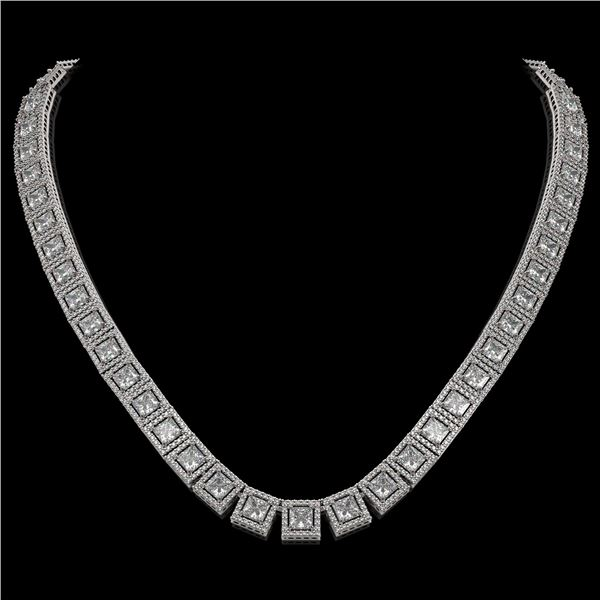 36.30 ctw Princess Cut Diamond Micro Pave Necklace 18K White Gold - REF-4704H5R