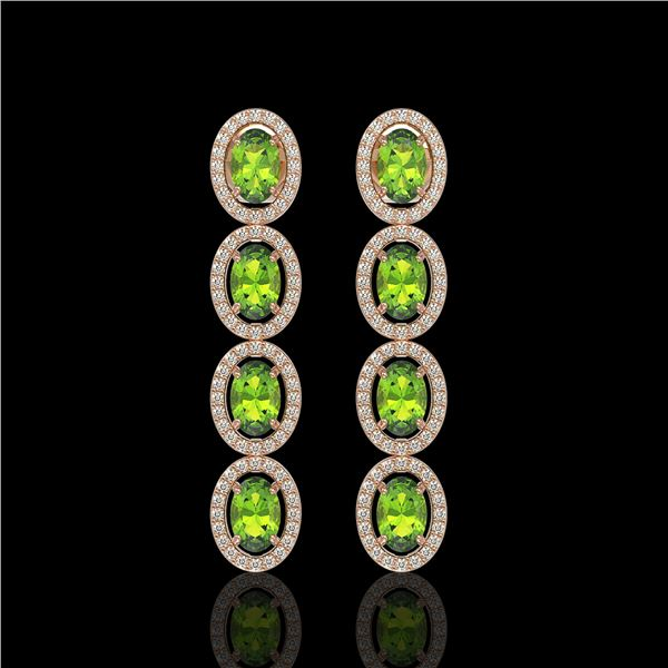 5.88 ctw Peridot & Diamond Micro Pave Halo Earrings 10k Rose Gold - REF-143F6M