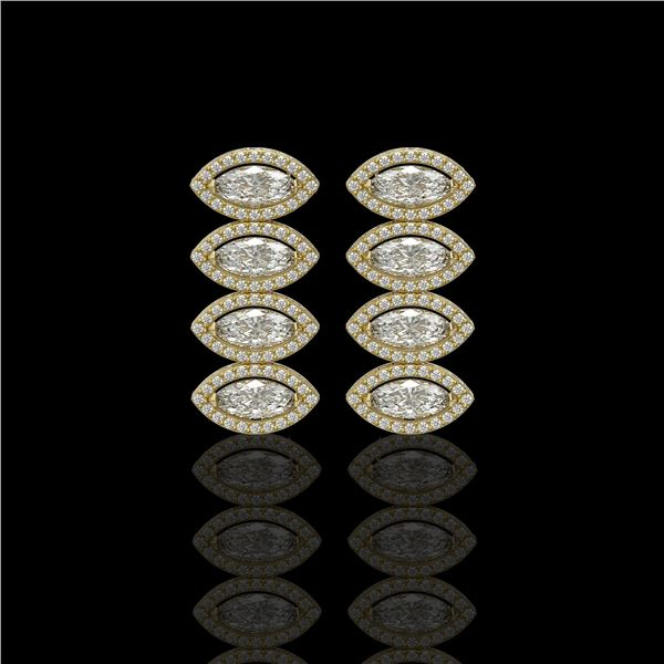 5.33 ctw Marquise Cut Diamond Micro Pave Earrings 18K Yellow Gold - REF-739F6M