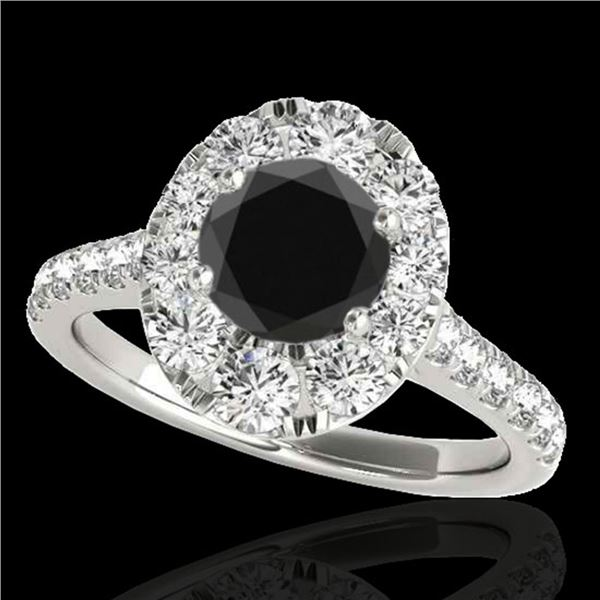 2 ctw Certified VS Black Diamond Solitaire Halo Ring 10k White Gold - REF-76Y8X